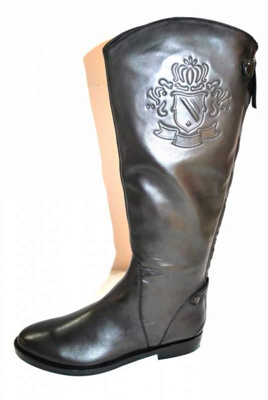 Acheter Botte Cavalière Bottes cuir gris chaussure femme