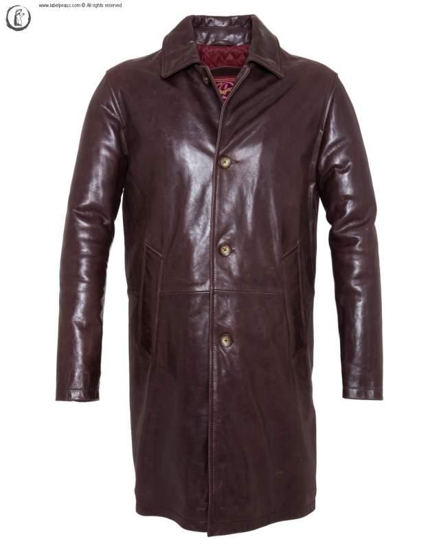 Manteau Cuir de Vachette Daytona Dilip Marron