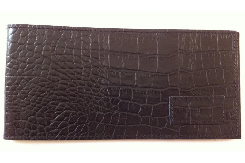 Chéquier vertical en cuir Croco Noir
