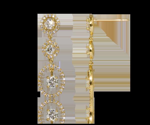 Acheter Boucles d'oreilles solitaires Asa, Pendants d'oreilles diamants en or jaune -Poids total 1,34 carat