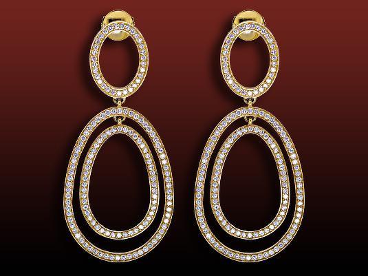 Boucles d'oreilles pavées Tara motif poire articulée, pavées de diamants ronds en or jaune pour 3,62 carats