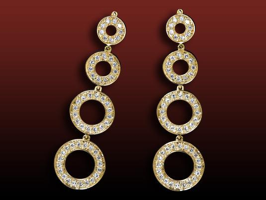 Boucles d'oreilles pavées Geria en or jaune serties de diamants ronds pour 0,90 carats