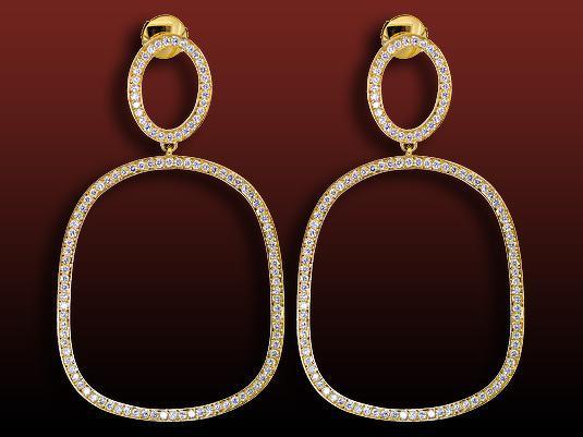 Acheter Boucles d'oreilles pavées diamant Sarina motif coussin pavées de diamants ronds en or jaune