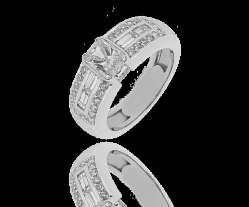 Bague diamant solitaire pavée Naomie Diamant radian 1,02 carat et pavage de 0,59 carat
