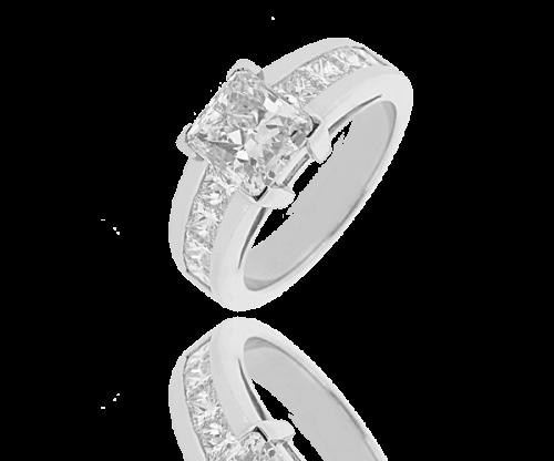 Acheter Bague diamant solitaire pavée Méyra,Diamant radian 2,00 carats et pavage de 1,48 carats
