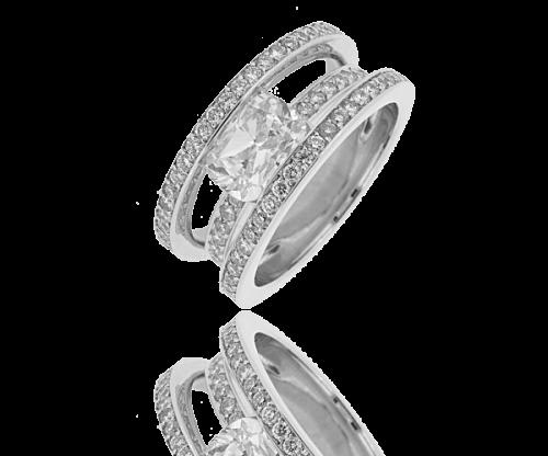Bague diamant solitaire pavée Eliora,Diamant radian 2,01 carats et pavage de 1,20 carat