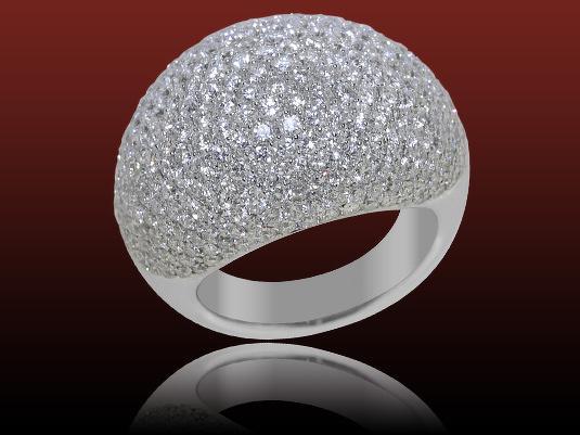 Acheter Bague pavée diamants Uni, diamants ronds 4.96 carats