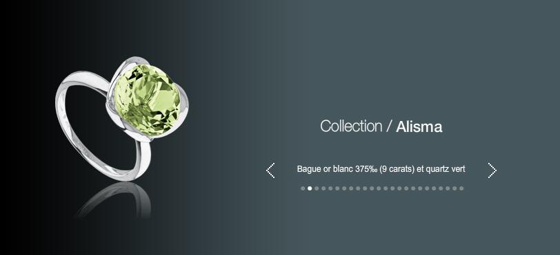 Acheter Bague or blanc 375 (9 carats) et quartz vert
