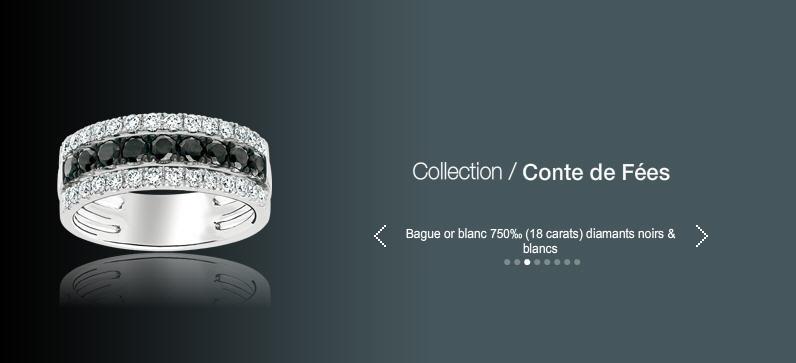 Acheter Bague or blanc 750 (18 carats) diamants noirs et blancs