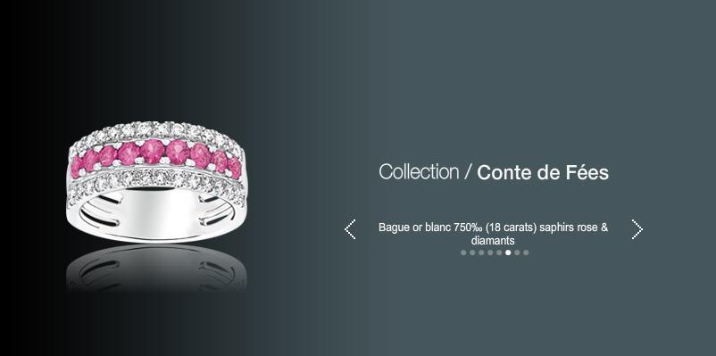 Acheter Bague or blanc 750 (18 carats) saphirs roses et diamants