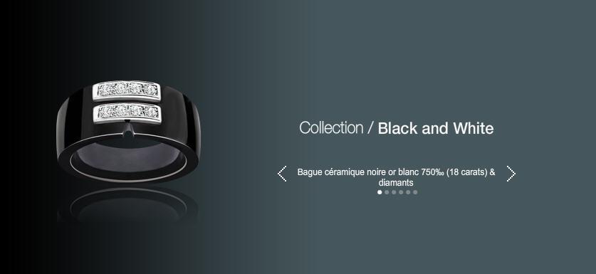 Acheter Bague ceramique noir or blanc 750 (18 carats) & diamants