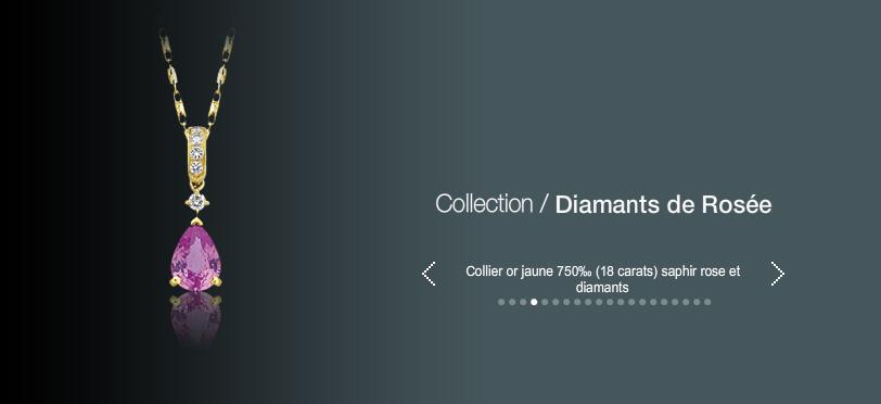 Acheter Collier or jaune 750 (18 carats) saphir rose et diamants