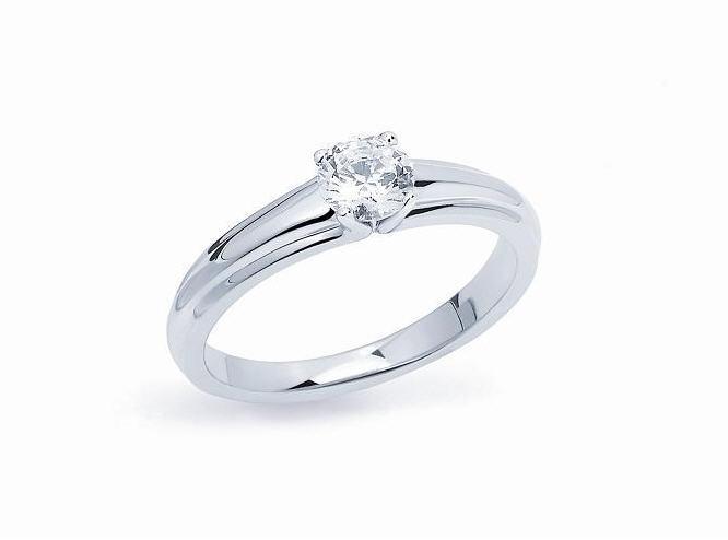Acheter Bague n°2903 Solitaire néo classique 4 griffes or gris palladié 750 millièmes diamant taille brillant
