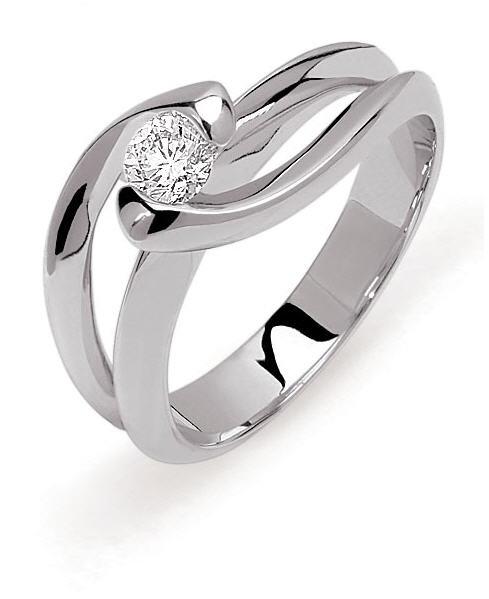 Acheter Bague Nova Solitaire moderne or gris palladié 750 millièmes diamant G-H/SI 0.30ct