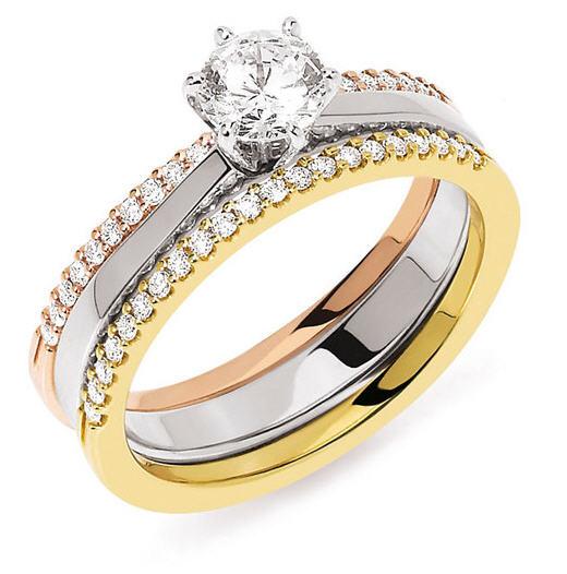 Acheter Bague Solo Accompagné Solitaire diamant 6 griffes or gris palladié 750 millièmes accompagné de 2 demi alliances diamants
