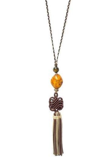 Acheter Collier de passementerie, médaillon ambre, couleur chocolat & sable