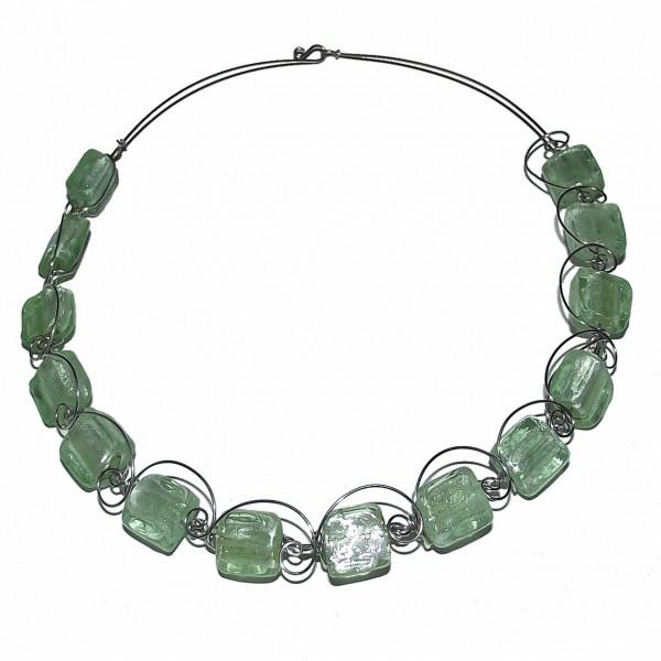 Collier vert - Perles en verre - Lampwork