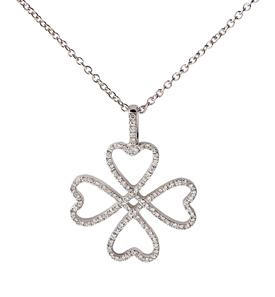 Acheter Pendentif Coeurs Trèfle. Diamants.