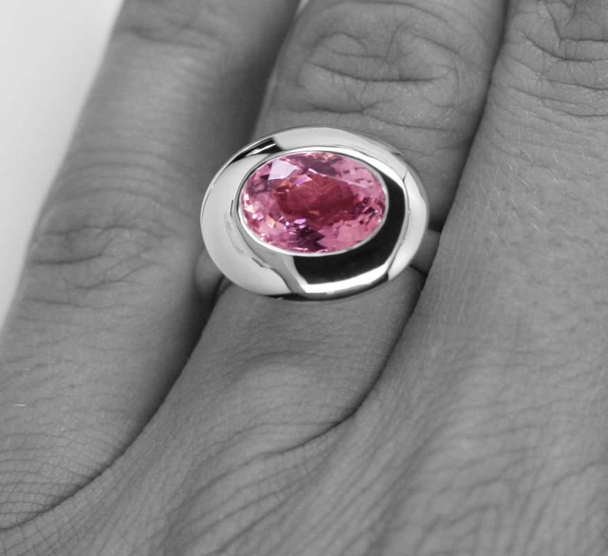 Acheter Bague acidulée Tourmaline rose de 11x8mm de 3.65 cts