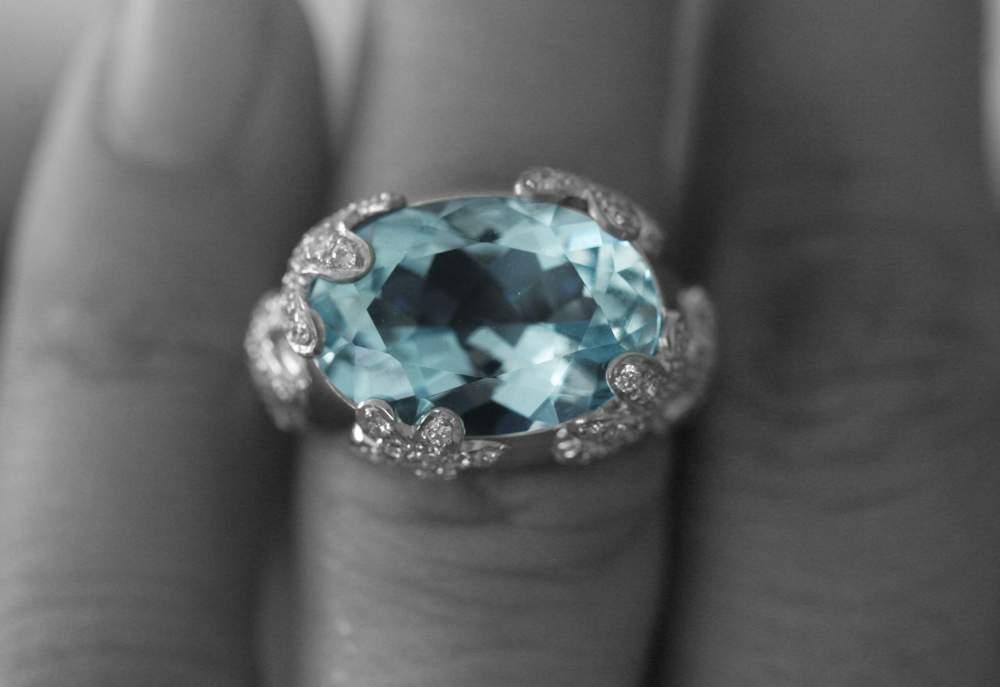 Acheter Bague aigue- marine et diamants