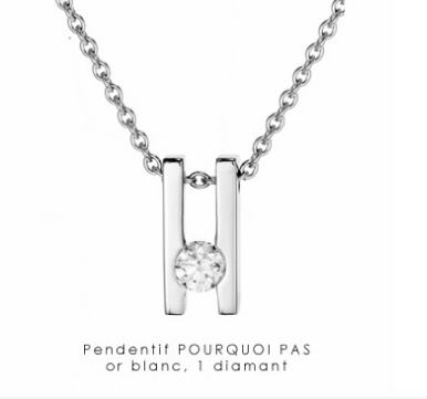 Acheter Pendentif Pourquoi pas, or blanc, 1 diamant