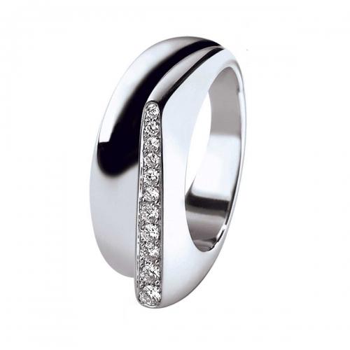 Acheter Bague Success petit modèle en or gris pavée de diamants