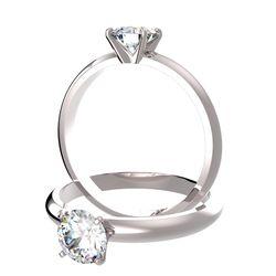 Bague solitaire 4 griffes Ajala en or blanc pour diamant rond