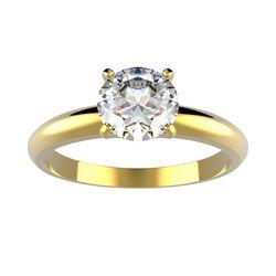 Bague solitaire 4 griffes Ajala en or jaune pour diamant rond