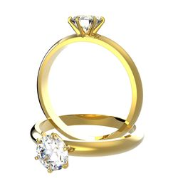 Bague solitaire 6 griffes Ajala en or jaune pour diamant rond
