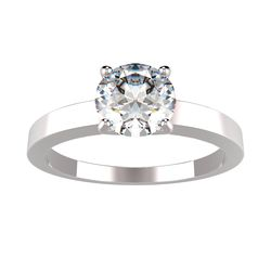 Bague solitaire 4 griffes Sabita en or blanc pour diamant rond