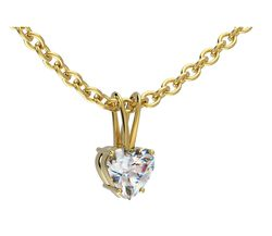 Acheter Pendentif griffes double bélière en or jaune pour diamant coeur