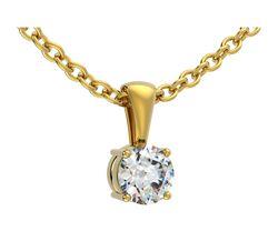 Pendentif 4 griffes bélière en or jaune pour diamant rond