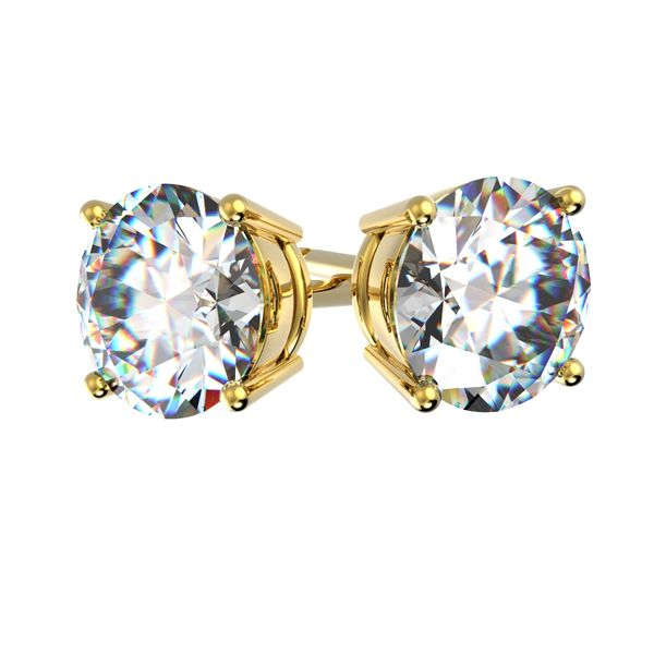Boucles d'oreilles 4 griffes en or jaune pour diamant rond