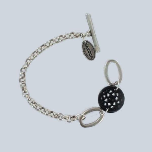 Bracelet rosace résine noir sur argenté  Baroka