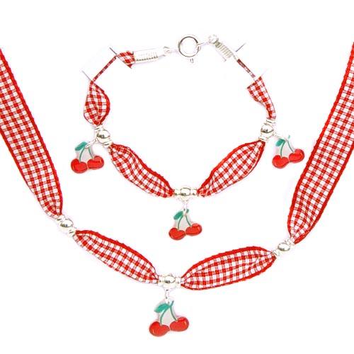 Acheter Ensemble bijoux cerise et ruban vichy