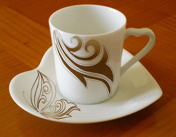 Acheter Paire tasse Coeur en fine porcelaine