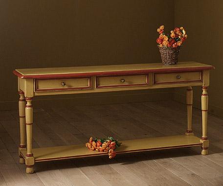 Acheter Console 3 tiroirs, en finition Antique, couleur Dune/Hermès