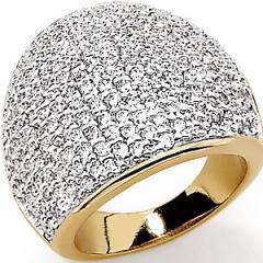 Magnifique bague plaqué or avec oxydes de zirconium