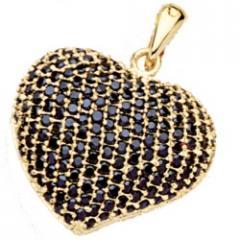 Gros pendentif coeur plaqué or et oxydes de zirconium