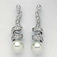 Boucles d'oreilles argent, perles et oxyde de zirconiums