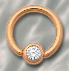 Anneau plaqué or 1.2x7 boule cristal facette blanc