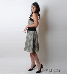 Robe Bustier Imprimé dentelle gris et noir