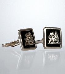 Boutons de manchette rastafari en argent - Boutons de manchette rastafari avec médaille carrée fond noir et argent Lion de Judée