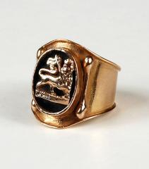 Chevalières et bagues femme - Chevalière femme en or avec médaille Lion de Judée