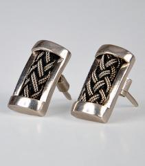 Boucles d'oreilles de la région de Dire Dawa en argent ciselé et onyx noire