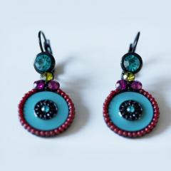 Boucles d'oreilles émaillées Bleu et rouge  Baroca