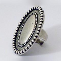 Bague plateau ovale billes métal argenté  Baroca Collection Hiver 2011
