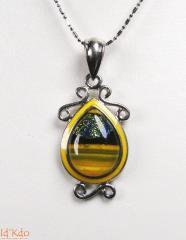 Pendentif verre dichroïque Murano arabesque
