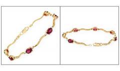 Bracelet or diamants rhodolites grenats - 1279715
