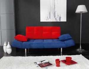 Canapés Lits - Banquette clic clac 3 places Tissu Canapé-lit Dali Bleu & Rouge